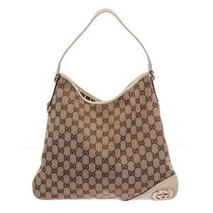 Gucci Beige White GG Canvas New Britt Hobo Bag